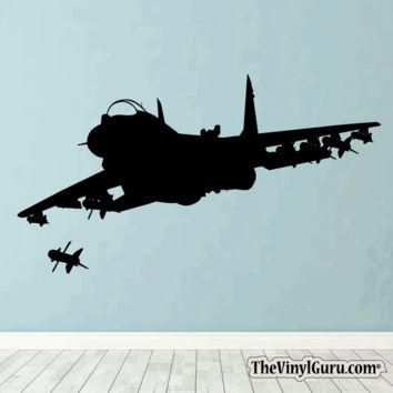 Airplane Jet Figther War Plane Wall Decal #00001