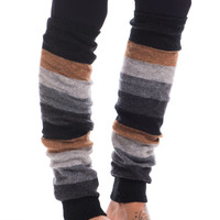 Striped Leg Warmer, Gray-Camel
