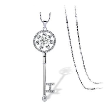 KEY Pendant Necklace With White Gold Color Chain And Cubic Zircon
