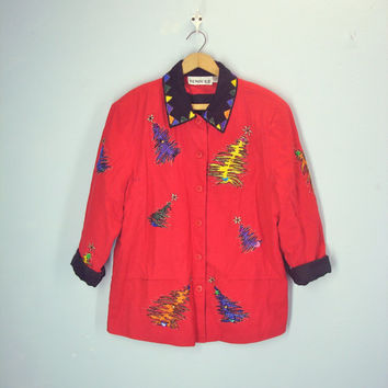 Vintage Ugly Christmas Jacket, Beverly Goldberg Jacket, Holiday Party Jacket, Christmas Tree, L