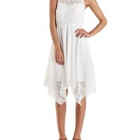 Ivory Handkerchief Hem Crochet Dress by Charlotte Russe