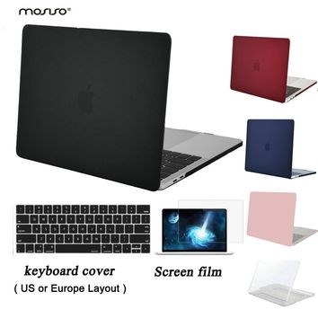 MOSISO Clear Matte Case New Pro 13 A1989/A1708/A1706 Touch Bar - Laptop Plastic Hard Case for Macbook Pro 15 A1707 A1990
