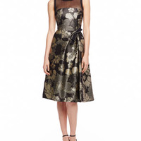 Carolina Herrera Pixelated Floral Jacquard Dress, Black/Gold