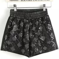 Black Elastic Waist Sequined Shorts