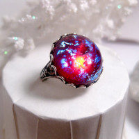 Round Dragon's Breath Opal Ring