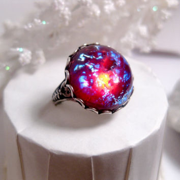 Round Dragon's Breath Opal Ring - Mexican Opal