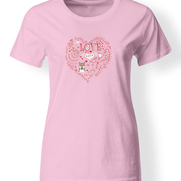 Love Hearts and  Shiba Inu T-shirt Ladies Cut Short Sleeve Medium BB4484-978-M