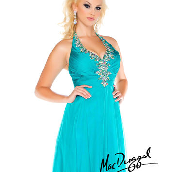 Mac Duggal 2014 Plus Size Prom Dresses - Teal Crystal Halter Chiffon Long Gown