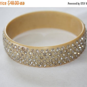 Fall Sale Vintage Bangle Bracelet, Art Deco Jewelry, Celluloid Rhinestone Bracelet, 1930s Jewellry