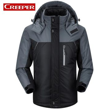 Plus Size M-5XL Men Fur Lined Warm Skiing Jackets Patchwork Hooded Snowboard Camping Sportswear Hiking Thermal Windbreaker Coats