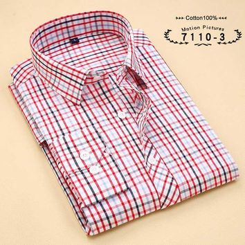 New Men Plaid Long-sleeved Casual Shirts Flannel Slim Fit Chemise Social Fashion