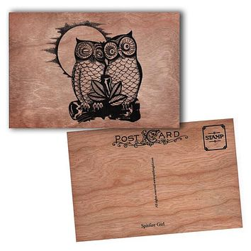 Wood Postcard Owls