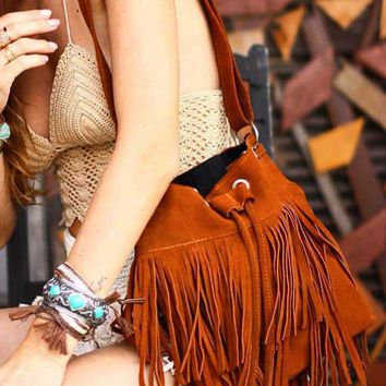 """Sahara Fringe"" - Brown Suede Tassel Bag"