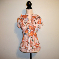 Floral Blouse Size Small Romantic Top Ruffled Blouse Floral Top Short Sleeve Summer Top Tangerine Orange Spring FREE SHIPPING Women Clothing