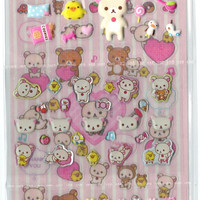 Kawaii Japan Sanx Sticker Sheet Assort: 4 Happy Seal Series 4 Types of Rilakkuma Pink SE18902 Puffy Cute Stickers Set