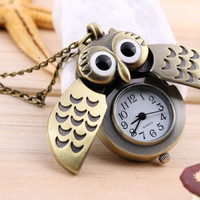 "High Quality Retro Bronze Owl Pocket Watch Chain 28"" Necklace"