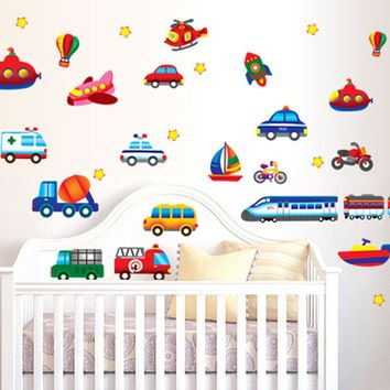 Cartoon Cars, Planes and Boats Vinyl Wall Decals