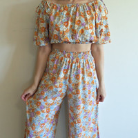 Vintage Hippie Flower Child Floral 2 pc Off The Shoulder Crop Top and Wide Leg Palazzo Pant