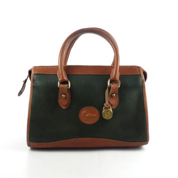 Dooney and Bourke Purse Vintage 1980s Forest Hunter Green and  Brown Leather Handbag