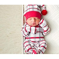 Holiday Pom Pom Hat and Footed Overall Set by L'ovedbaby