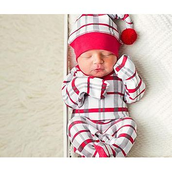 L'Ovedbaby Holiday Pom Pom Hat and Footed Overall Sets