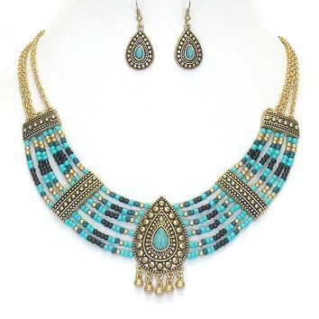 Turquoise and Gold Seed Bead Ethnic Statement Necklace