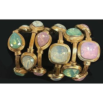 Stretch Bracelet Pink Seafoam Green Oyster White Colored Stones in Cushion or Teardrop Cuts