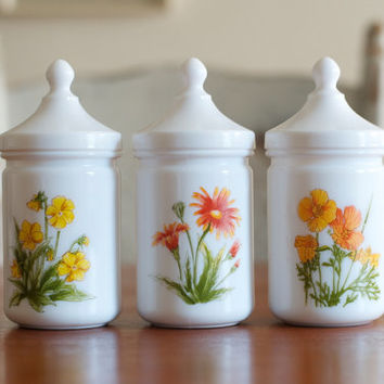 Vintage Milk Glass Jars / Apothecary Canister Set - France