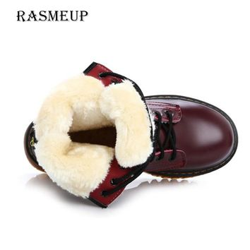RASMEUP Leather Women's Ankle Boots 2018 Winter Fur Warm Lace Up Zipper Women Martin Boots Casual Thick Sole Woman Platform Shoe