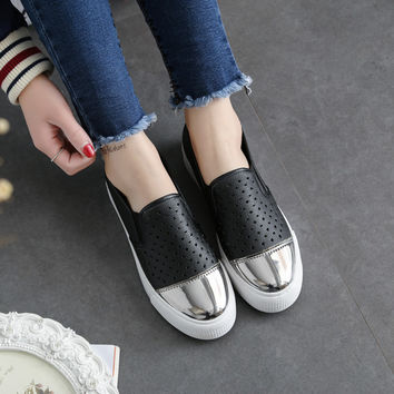Free Shipping Women Fashion Canvas Shoes Slip-on Leather Casual Shoes Cut-out  Out-door Loafer Size35-40