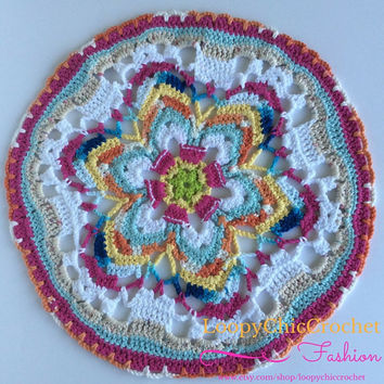 "17"" Crochet Flower Mandala, Crochet Mandala, Flower Mandala, Mandala, Doily, Doilies, Bright Mandala, Home Decor, Centerpiece, For the Home"