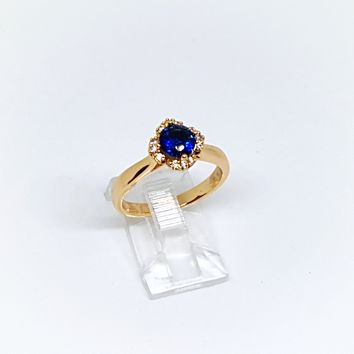 1-3070-g5 Gold Overlay Sapphire Blue Solitaire CZ Ring.