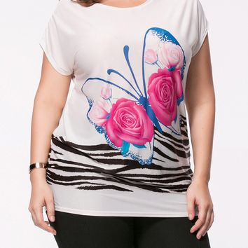 Streetstyle  Casual Butterfly Floral Printed Plus Size T-Shirt
