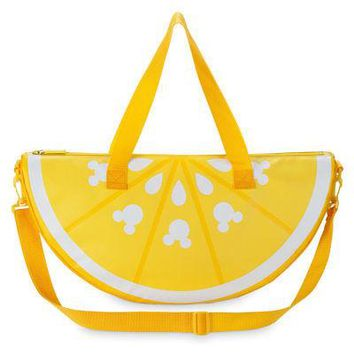 Licensed cool Disney Store Mickey Mouse Lemon Wedge Insulated Cooler Bag Beach Tote Summer Fun