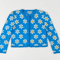 Vintage Daisy Sweater Blue Cardigan Medium