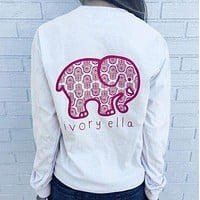 Women Fashion Loose Long Sleeve Cute Elephant Pattern Casual Sweatshirt Ivory Ella Letters Print Pocket Pullover Tops
