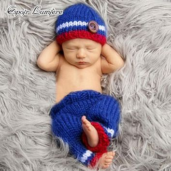 2018 Infant Sport Costume Newborn Knitted Pants Blue Red Newborn Photography Props Baby Handmade Crochet Accessories Outfit