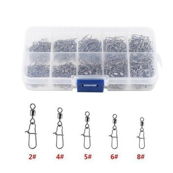 ONETOW 210pcs/ Box Stainless Steel Fishing Swivel Snap Ball Bearing Lock Rolling Swivel Connector hooked Snaps Pin Fishhook Tackle Kit