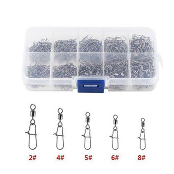 DCCK7N3 210pcs/ Box Stainless Steel Fishing Swivel Snap Ball Bearing Lock Rolling Swivel Connector hooked Snaps Pin Fishhook Tackle Kit