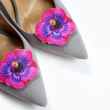 Red and purple freesia flower - shoe clips, shoe accessories, shoe fashion, real glitter, leather accessories, wedding shoe
