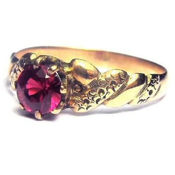 Victorian 1/2 Ct. Ruby Solitaire/14k Ring, c.1875! from aestheticengineering on Ruby Lane