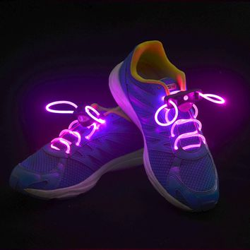 Good 2pcs! Fashion LED Shoelaces Shoe Laces Flashing Light Up Glow Stick Strap Neon Shoe Strings Luminous Laces Disco Party