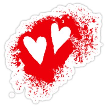 Two hearts on grunge stain stickers, red