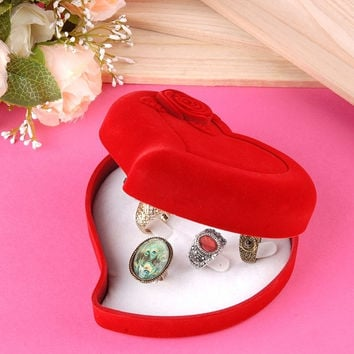 Jewelry Wedding Red Velvet Heart Shaped Ring Earring Necklace Gift Box Case