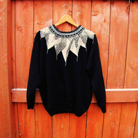 vintage black beaded party sweater. size M. Victoria Harbour. New Years Eve beaded sweater
