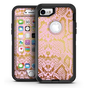 Pink Gold Flaked Animal v7 - iPhone 7 or 7 Plus OtterBox Defender Case Skin Decal Kit