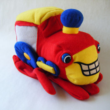 Vintage Train Hand Puppet Plush Toy Red Yellow Blue Children Play Show Stuffed Railroad Choo Choo Kids Parenting Playtime