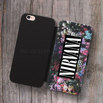 Wallet Leather Case for iPhone 4s 5s 5C SE 6S Plus Case, Samsung S3 S4 S5 S6 S7 Edge Note 3 4 5 nirvana floral Cases