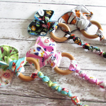 Modern Sugar Skulls Snap On Teether. Bunny Ear Teether. Organic Wooden Teether - Ready To Ship