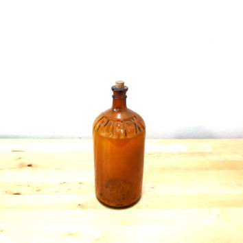 Vintage Glass Amber Bottle / Old Purex Bottle / Brown Glassware / Rustic Decor / Antique Glass Jug / Country Cottage Decor